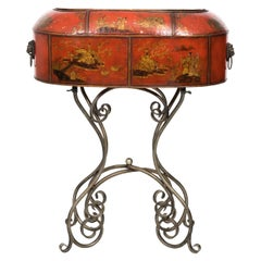 Red Painted Chinoiserie Planter