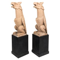 Pair of Glazed Terracotta Gargoyles, circa 1900