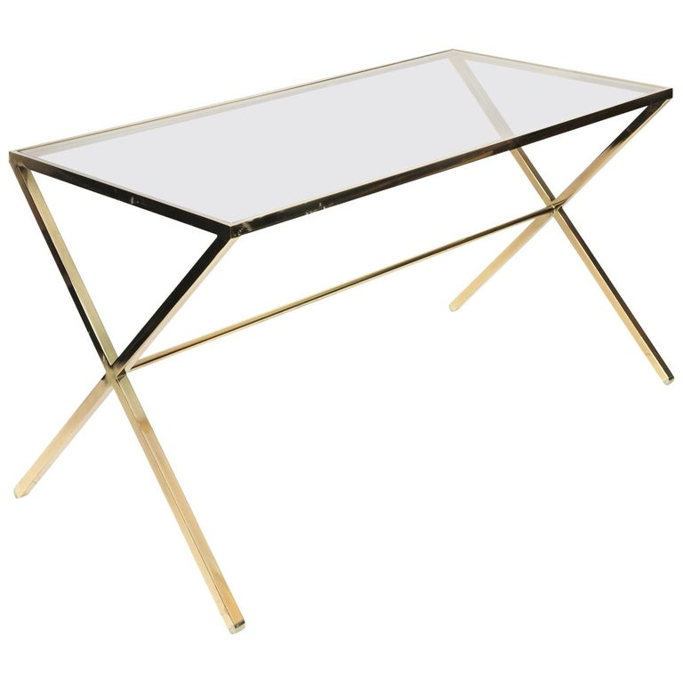 Brass X-Base Table For Sale