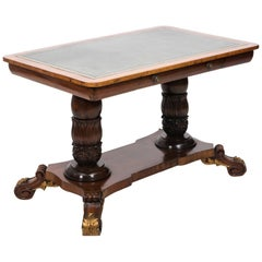 Leather Top Trestle Table, circa 1800
