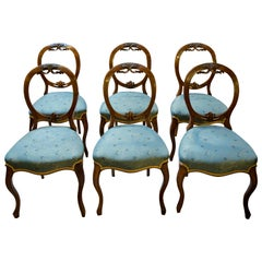 Set of 6 Victorian Walnut Ballooon Back Dining Chairs, circa 1870