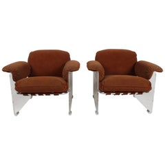 Pace Collection Argenta Lucite Lounge Chairs, circa 1970s