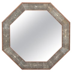 Octagonal Walnut and Shagreen Mirror