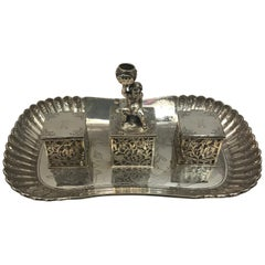 Decorative Silver Inkwell London, 1856