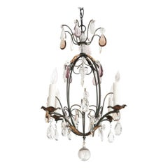 Petite French Cut-Crystal and Wrought Iron Four-Light Chandelier