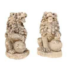 Pair of 19th Century English Lions of Carved Limestone