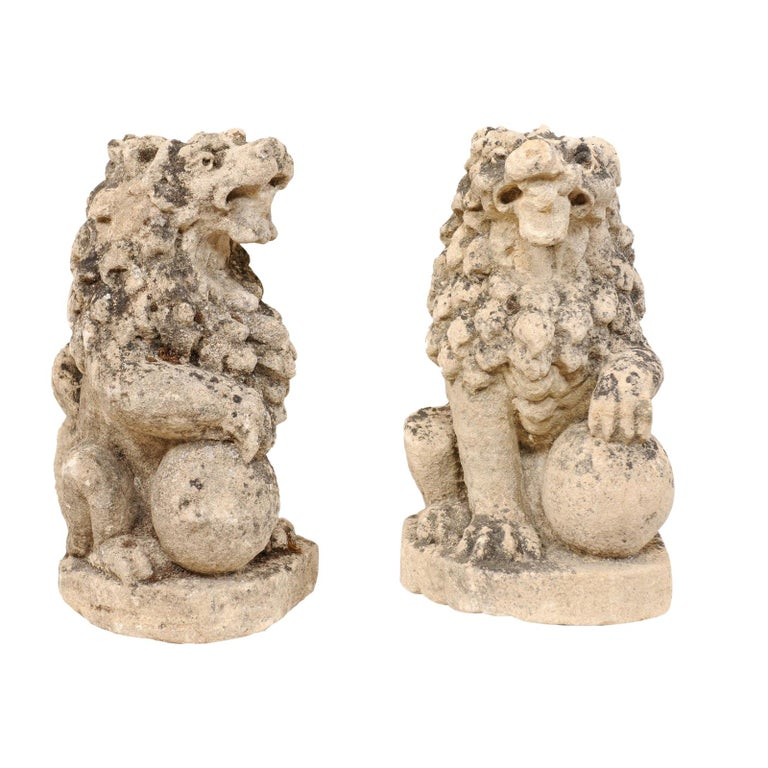 Pair of 19th Century English Lions of Carved Limestone For Sale