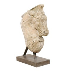 19th Century European Cast Stone Horse Head on Stand