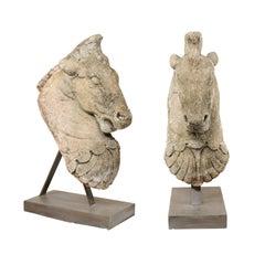Pair of 19th Century European Stone Horse Heads