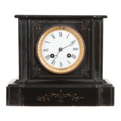 English 19th Century Aesthetic Movement Black Marble Mantel Clock