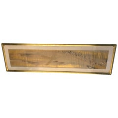 Exceptional 19th Century Gold Leaf and Hand Painted Scroll in Gilt Frame