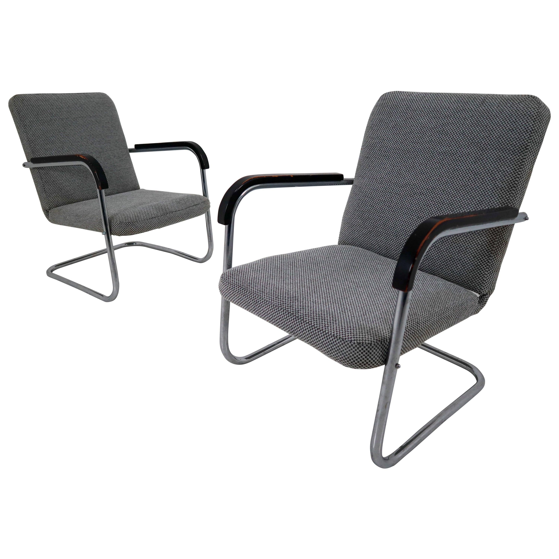 Pair of Chrome Steel Armchairs by Thonet circa 1930s Midcentury Bauhaus Period