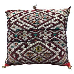 Vintage Moroccan Kilim Throw Pillow Handwoven Wool Square Berber Tribal