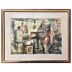 Sasha Chimkevitch, Jam Session in Paris, Watercolor and Guache on Paper