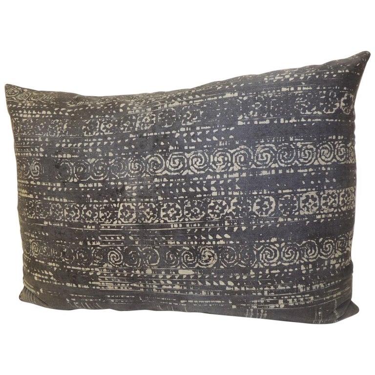 Vintage Asian Hand Blocked Batik Decorative Bolster Pillow For Sale