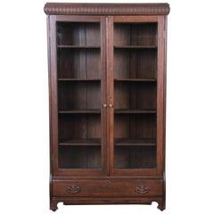 Antique Carved Oak Glass Front Locking Bookcase