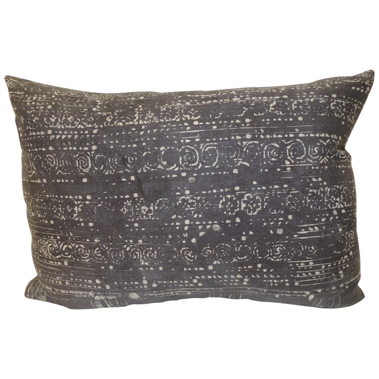 Vintage Asian Hand Blocked Batik Decorative Bolster Pillow