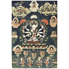 Deeds of Manjushri, Tibetan Thangka Natural Pigments on Cotton Painting