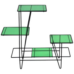 Mid-Century Modern Green and Black Vintage Metal Flower Stand France, circa 1950