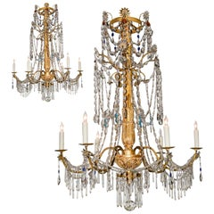 18th Century Pair of Italian Giltwood Crystal Chandeliers