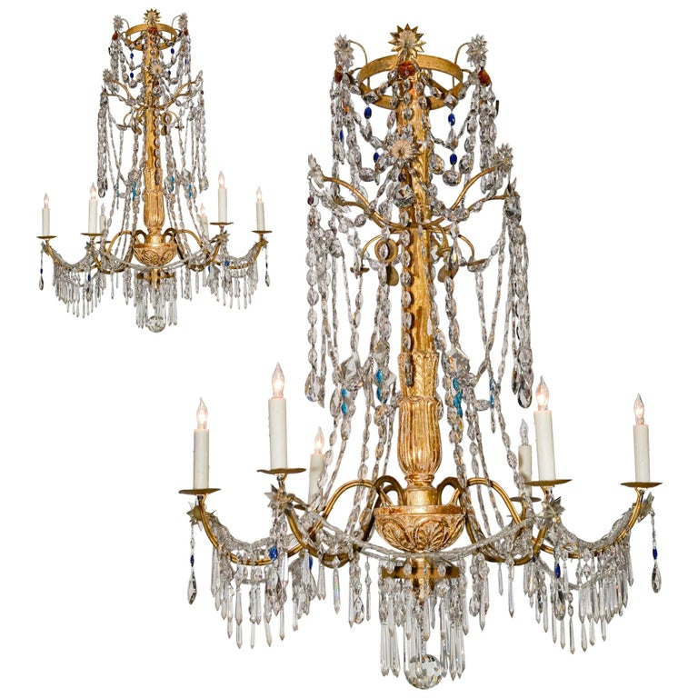 18th Century Pair of Italian Giltwood Crystal Chandeliers For Sale