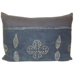 Vintage Asian Indigo and White Hand-Blocked Bolster Decorative Pillow