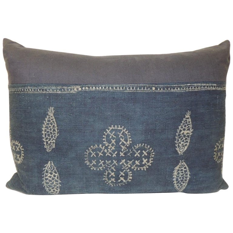 Vintage Asian Indigo and White Hand-Blocked Bolster Decorative Pillow For Sale