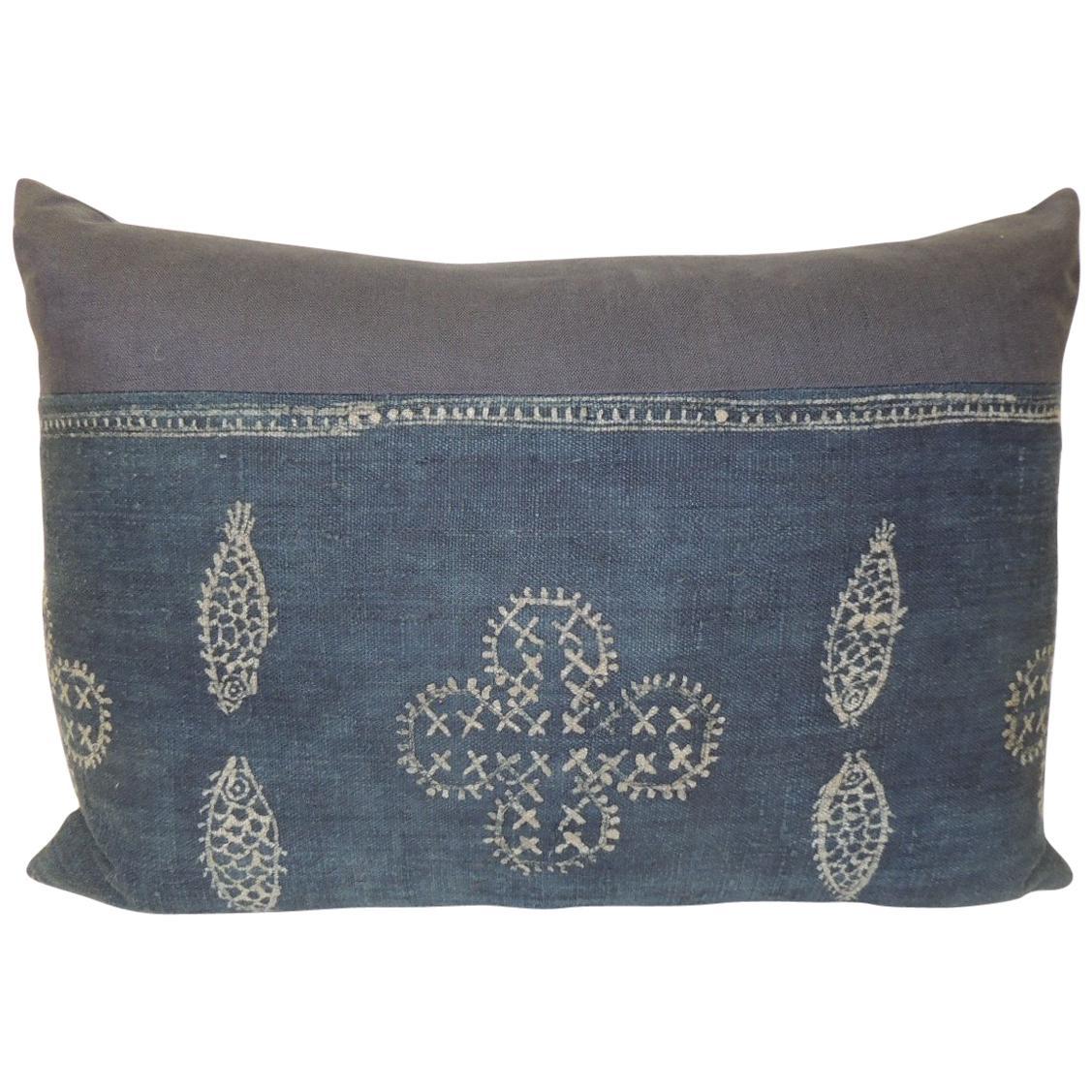 Vintage Asian Indigo and White Hand-Blocked Bolster Decorative Pillow