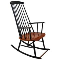Patinated Black Wooden Rocking Chair by Ilmari Tapiovaara for Asko, 1950s