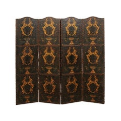Italian 19th Century Hand Painted Leather Accordion Style Screen Divider