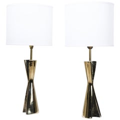 Maurizio Tempestini Sculptural Brass Table Lamps