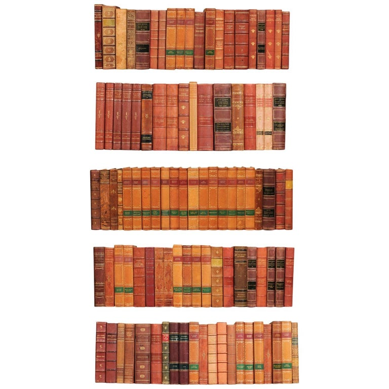 Attractive Collection of 100 Antique Swedish Leather-Bound Books For Sale