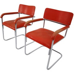Orange Mid-Century Modern Bauhaus Chrome Armchairs by Thonet, circa 1930s