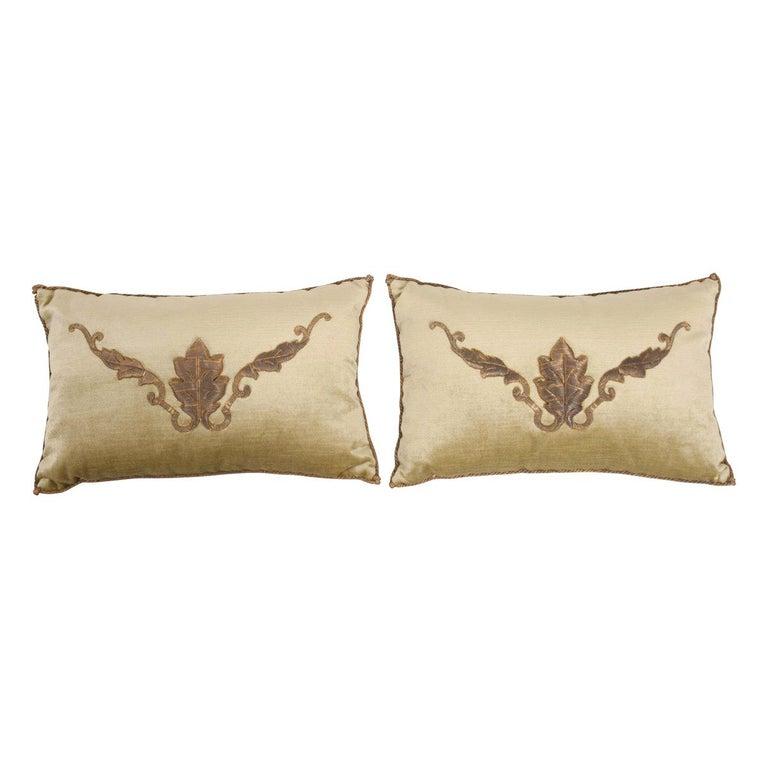Pair of B. Viz Design Antique Textile Pillows For Sale