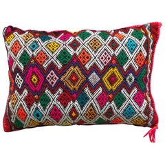 Vibrant Vintage Moroccan Kilim Throw Pillow Handwoven Red Wool Berber Tribal