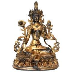 Gilded Statue of Tibetan Green Tara