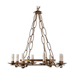 French Double-Ringed Gold Iron Chandelier, Mid-20th Century