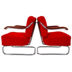 Armchairs by Thonet circa 1920s Midcentury Bauhaus Period in Red Fabric
