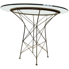 French Natural Wicker Round Dining Glass Table Wrought Iron ON SALE