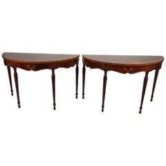 Pair of English Adam Style Demilune Console Tables by Maitland Smith