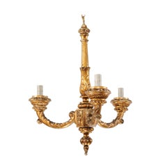 French Three-Light Carved Giltwood Column Chandelier from the Mid-20th Century