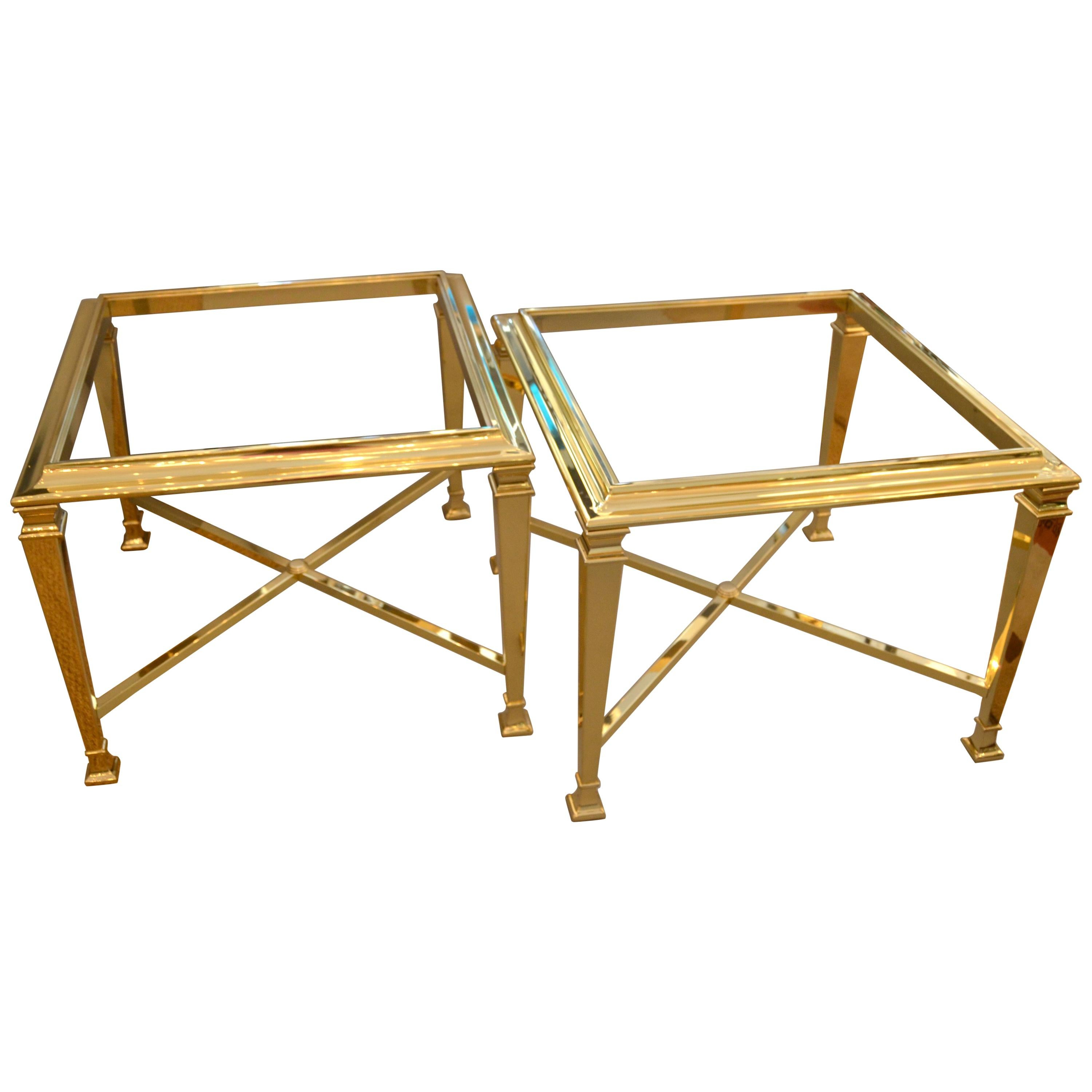 Hollywood Regency French Maison Jansen Brass Tables with Glass Tops, Pair