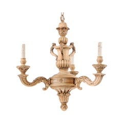 French 3-Light Carved Natural Wood Chandelier