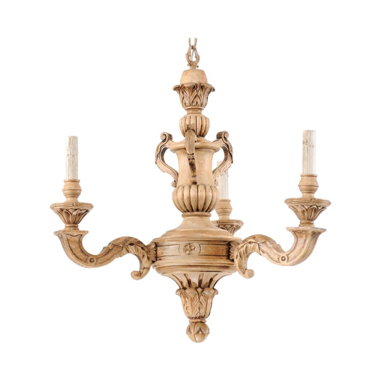 French 3-Light Carved Natural Wood Chandelier For Sale