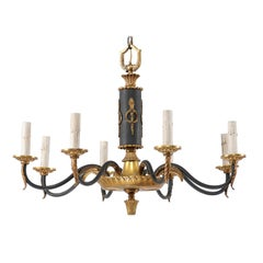 Swedish Vintage Black and Gold Neoclassical Style Chandelier