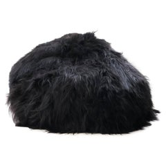 Large Natural Black Shaggy Sheepskin Bean Bag Chair Long Wool Made in Australia