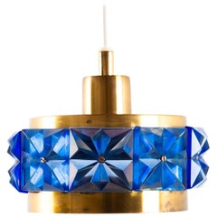 Hanging Lamp of Brass and Blue Glass, Erik Hoglund, Sweden