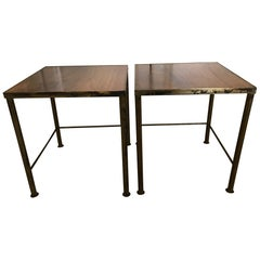 Pair of 1960s Gilt Metal and Wood Side Tables