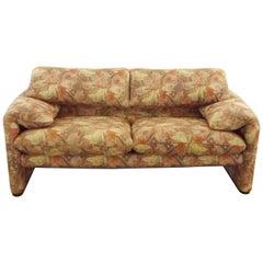 Cassina Maralunga 2-Seat Sofa by Vico Magistretti in Flowered Fabric