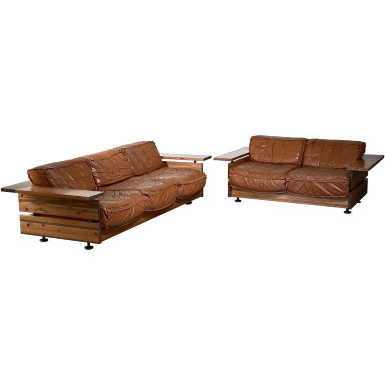 Leather Sofa Sets For Sale: Hameen Kalustaja Pine And Leather Sofa Set, Finland For